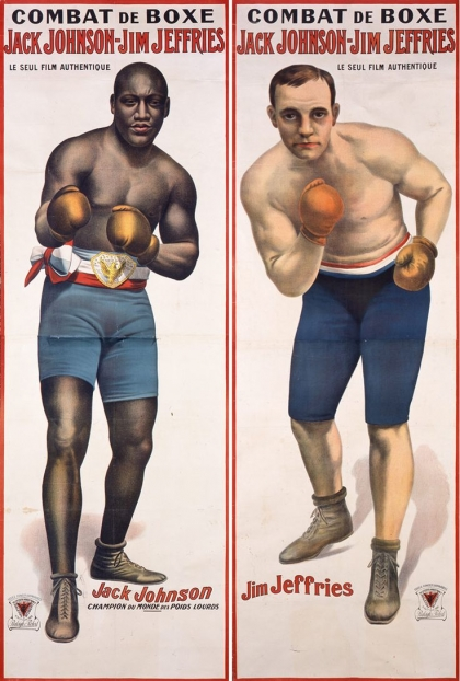 El boxeador negro Jack Johnson noquea al supremacista blanco Jim Jeffries en 1910